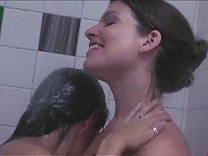Lesbian roommates help each other while showering