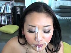Pretty Asian girl taking facial cumshot after a good fuck