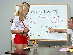Blonde college girl sucking and fucking her teacher