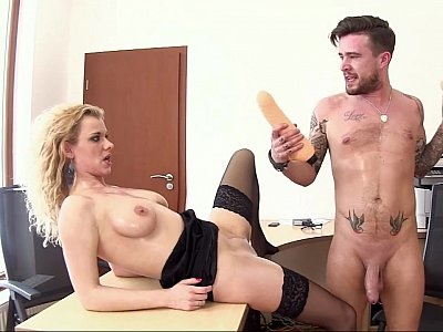 Fisting and dildofucking his secretary