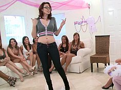 A dozen horny girls crowded into a room