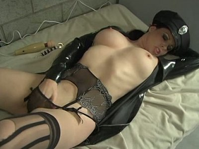 Busty policewoman masturbating in prison