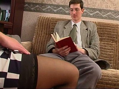 Long legged Russian MILF in stocking and a guy