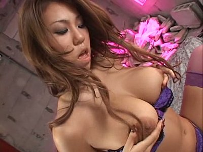 Hairy Asian with big natural tits masturbating and facesitting