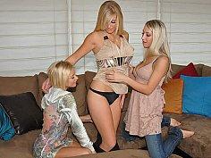 Three Blonde Stylish Lesbians