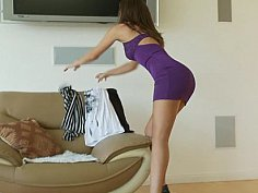 Super stylish beauty trying on clothes and more...