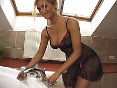 Hot European beauty very teasing in shower