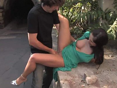 Long legged Lea gets fucked and spermed in public