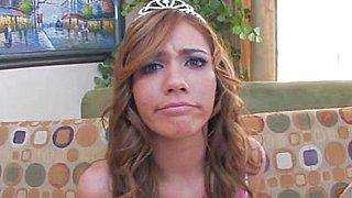 Double penetrated grey eyed Princess. Nice facial cumshot