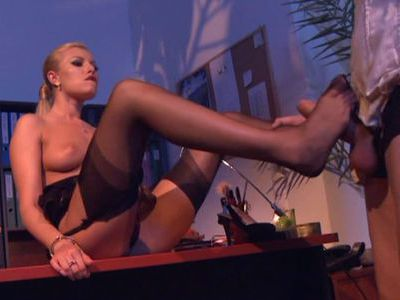 Black stockings wearing Donna Bell