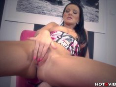Euro Babe in Corset Orgasms