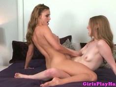 Gorgeous lesbian roommates scissoring