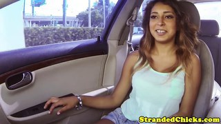 Making her tits bounce in his car