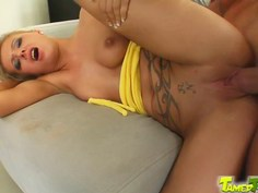 Dirty blonde's face gets manhandled
