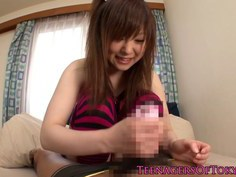 Japanese teen jerking cock before cumshot
