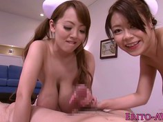 Busty japanese nurses in medical threeway fun