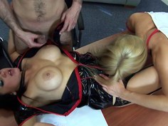 Office threesome with hot nurses