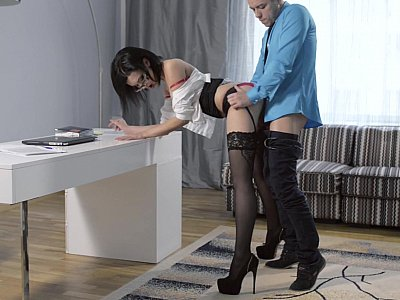 Long legged secretary in stocking bent over and fucked