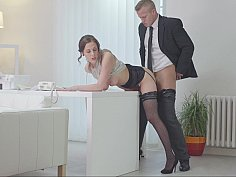 Secretary bent over the desk and fucked