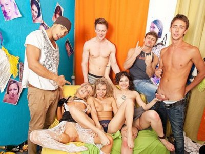 Naughty students partying and fucking