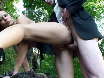 Outdoor sex scene with a blonde