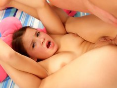 Penetration of teen girlie's little tight asshole