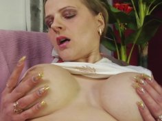 Busty mature whore riding big throbbing cock through pantyhose