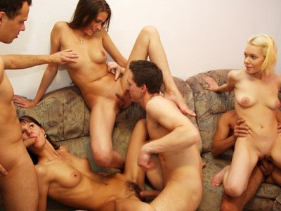 Cool nude party video with hot group fucking