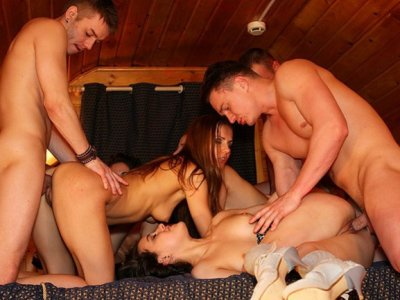 Delicious babes having fun in hot college sex party scene