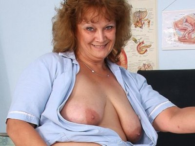Fat old nurse mom gets naughty in gyn clinic