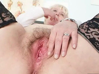 Big tits old lady in uniform fingers hairy pussy