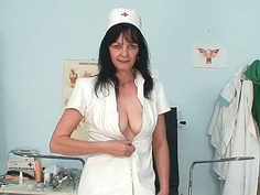 Filthy old milf nurse got nice big tits under latex