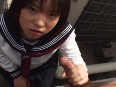 Cute babe Rino Sayaka bathroom blowjob!