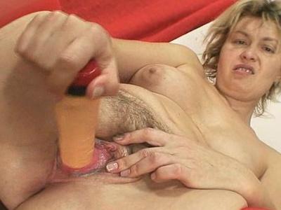 Blonde Milf Jaromira crazy dildo masturbation