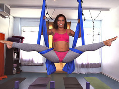 Kelsi Monroe doing splits on straps and all of that crazy acrobatic stuff