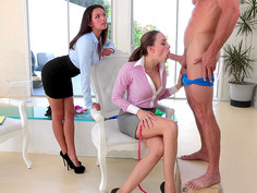 Shae Summers watches on as Chanel Preston sucks his dick