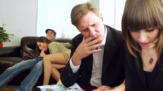 Sensual Jane sucking a dick while her husband sitting just a few inches away
