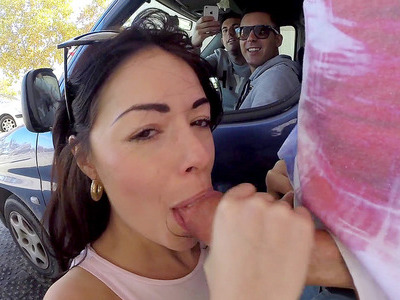 Ava Dalush was deepthroating dick at the carwash until the owner crashed the party