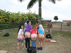 Schoolgirls going wild at the ranch