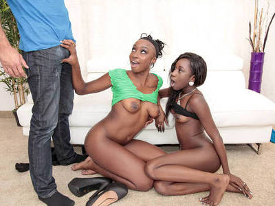 Two black girls in threesome