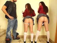 Caught two schoolgirls