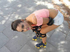 Latina in rollerblades spread her legs for the cock