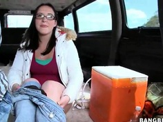 The amateur bodied curve Amy undresses totally in the friends' van