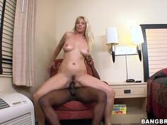 White blondie Jordan Kingsley fucked by black dude