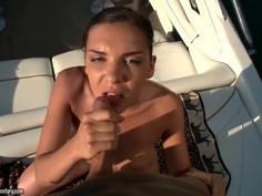 Brunette beauty Henessy fucked wild outdoor