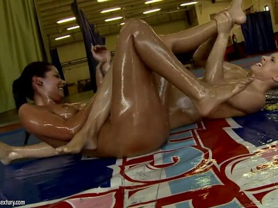 Oiled babes Brandy Smile and Cipriana fighting on the floor getting real pleasure
