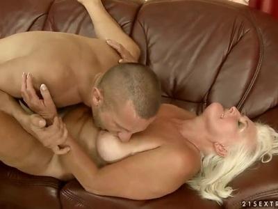 Kinky grandma Judi playing with young cock