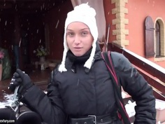 Babe Kathia Nobili gets filmed on snow