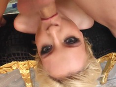 Blonde whore is double penetrated on camera