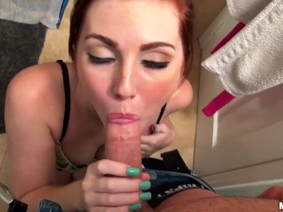 Natalie Lust sucks before sex in doggy style